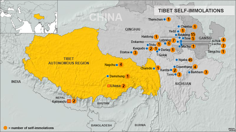 Description map of tibetan self-immolations