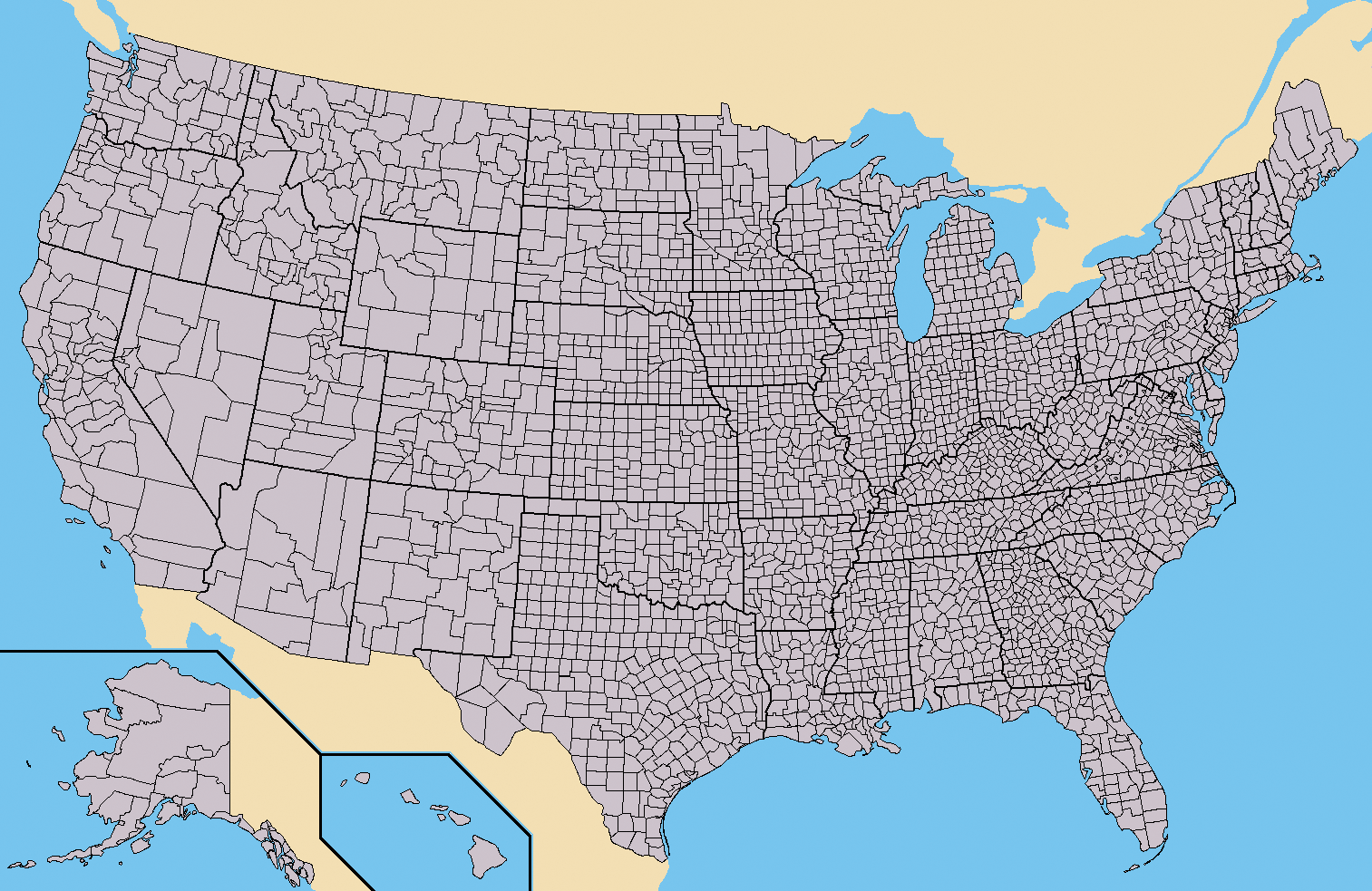 Us County Map File:Map of USA with county outlines.png   Wikipedia Us County Map