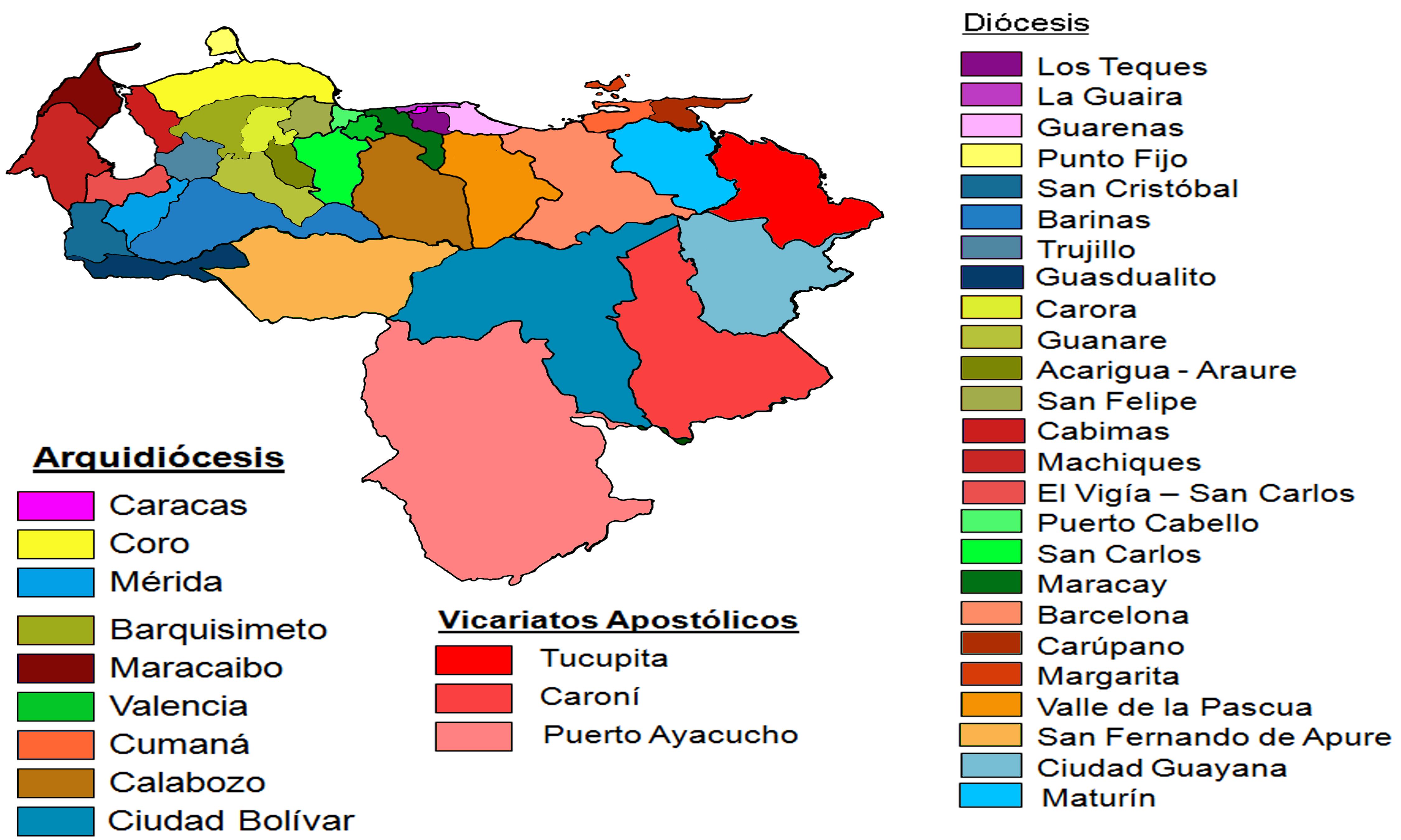 venezuela mapa Archivo:Mapa de Arquidiócesis y Diócesis de Venezuela.png  venezuela mapa