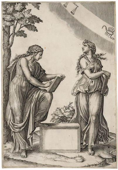Marcantonio Raimondi - Two Women with the Signs of Libra and Scorpio