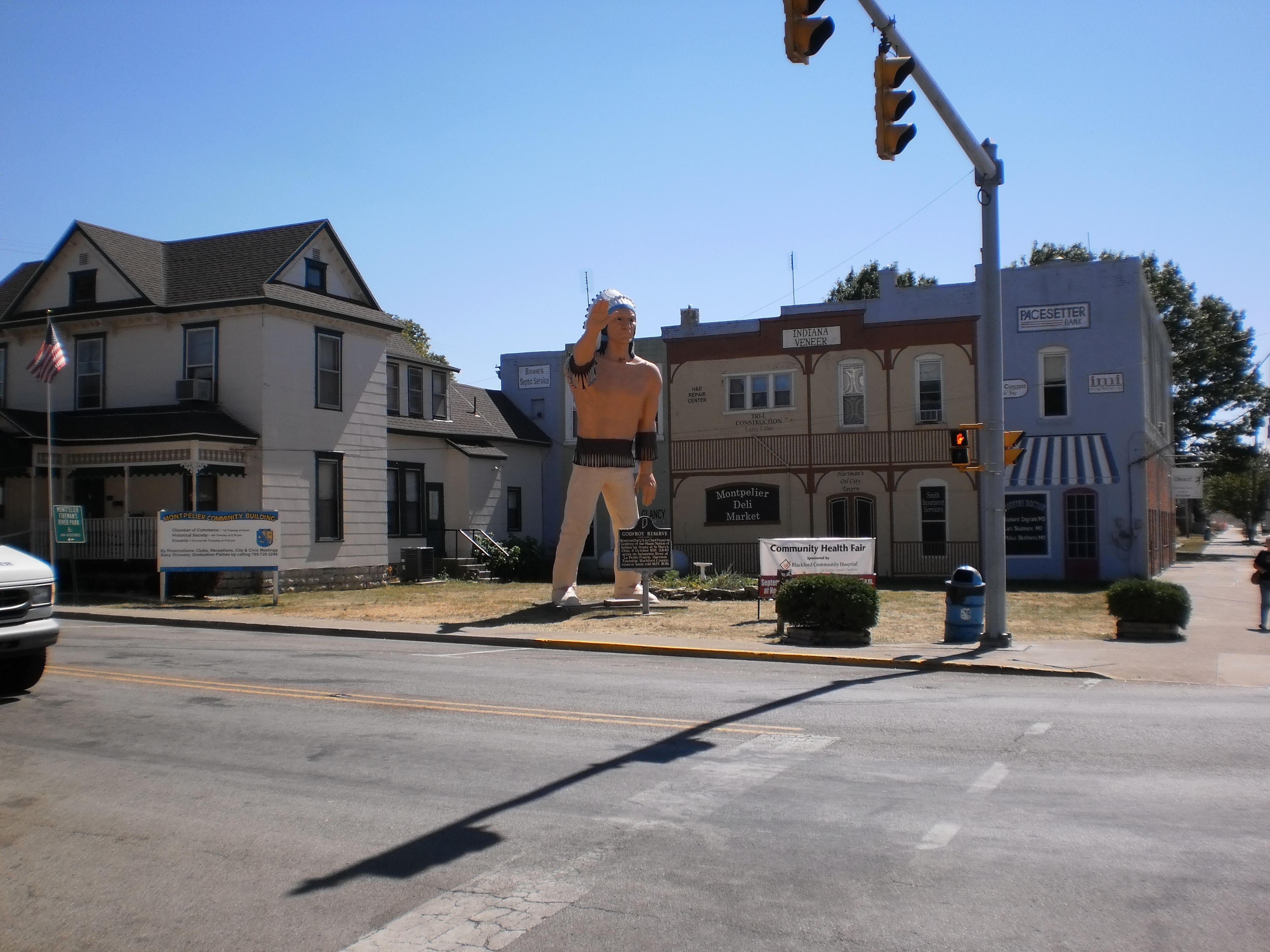 Small Indiana Towns Small Town With Indian Statue
