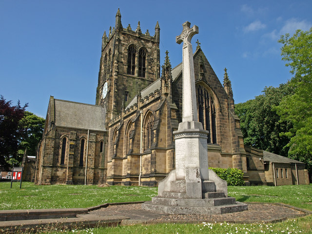 Photo of Northallerton. War memorial with the Parish Church of All Saints
