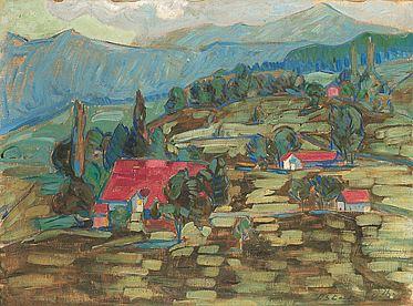 Oscar Lüthy Landschaft mit Häusern und Bäumen