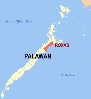 Map of Palawan showing the location of Roxas