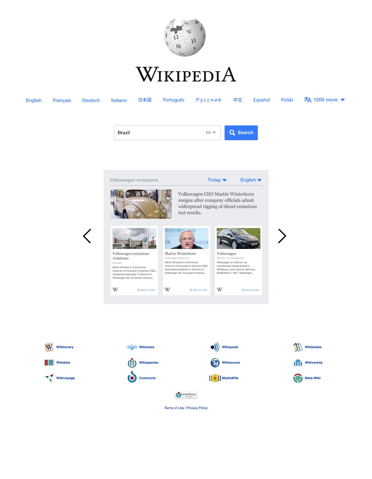 Jedna z propozycji nowego wyglądu strony www.wikipedia.org