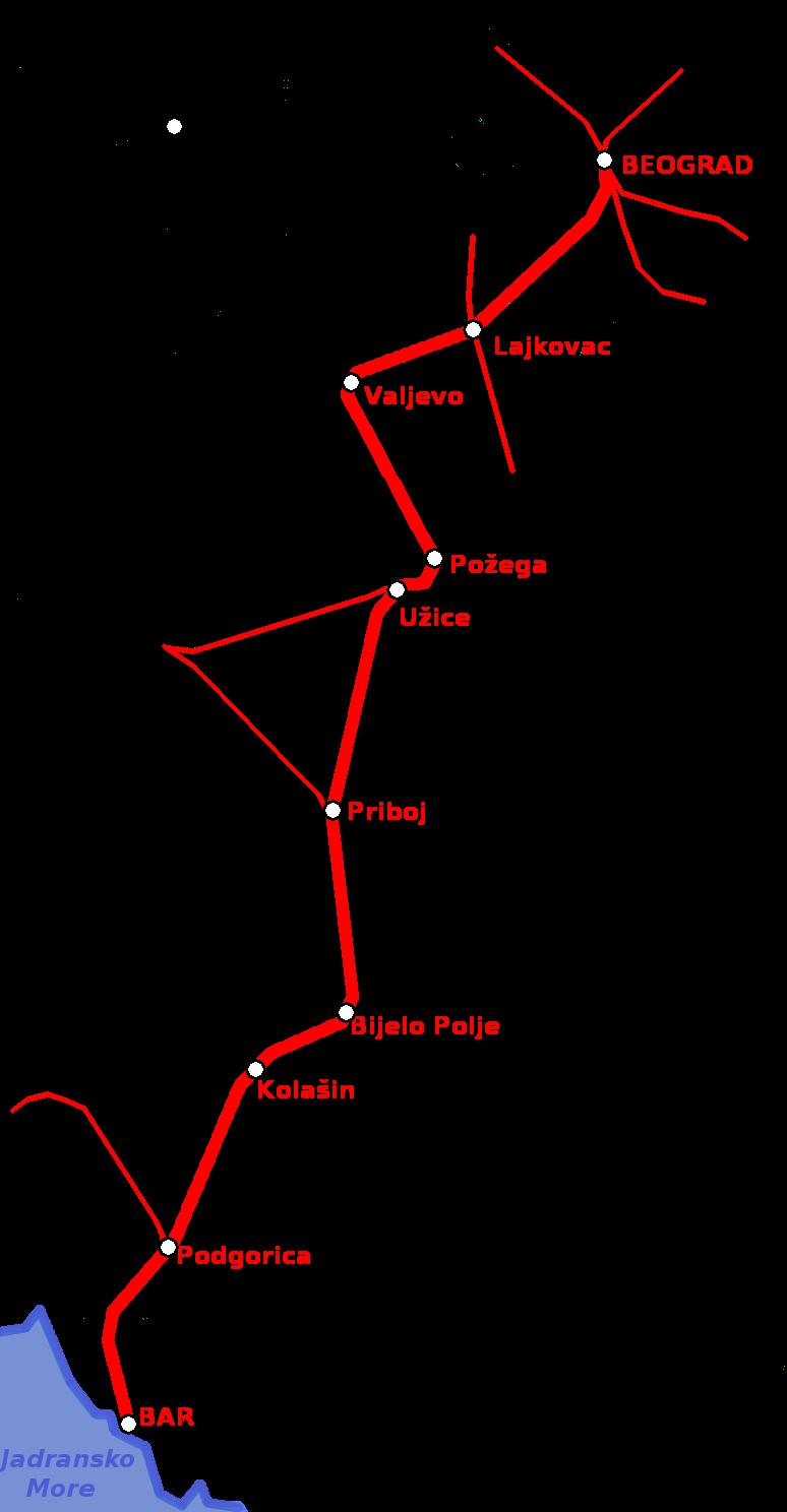mapa beograd bar Železnička pruga Beograd–Bar   Wikipedia mapa beograd bar