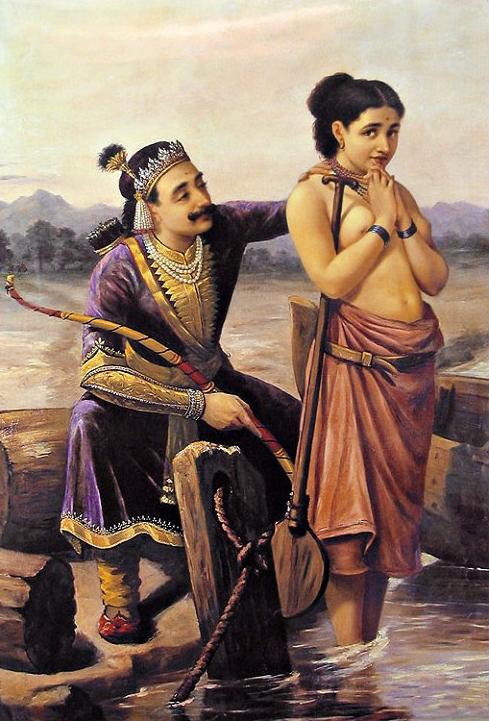 Shantanu woos Satyavati, the fisherwoman. Painting by Raja Ravi Varma.