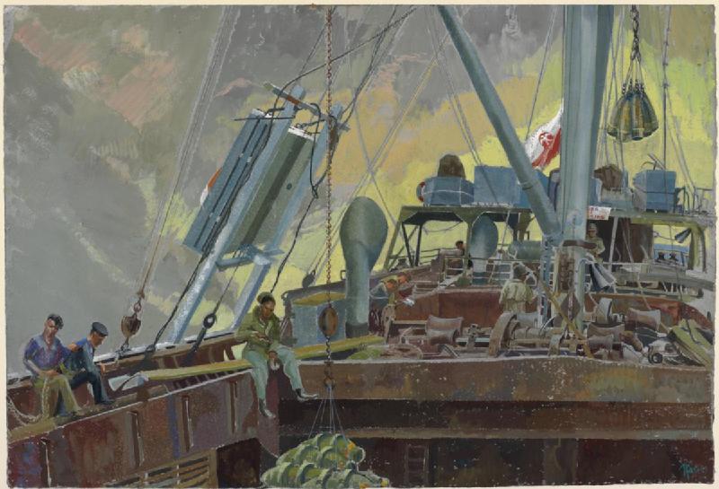 File:Sea Transport Poles loading bombs, 1944. (Art. IWM ART LD 4728).jpg