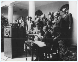 Lyndon Johnson signing the Wilderness Act of 1964