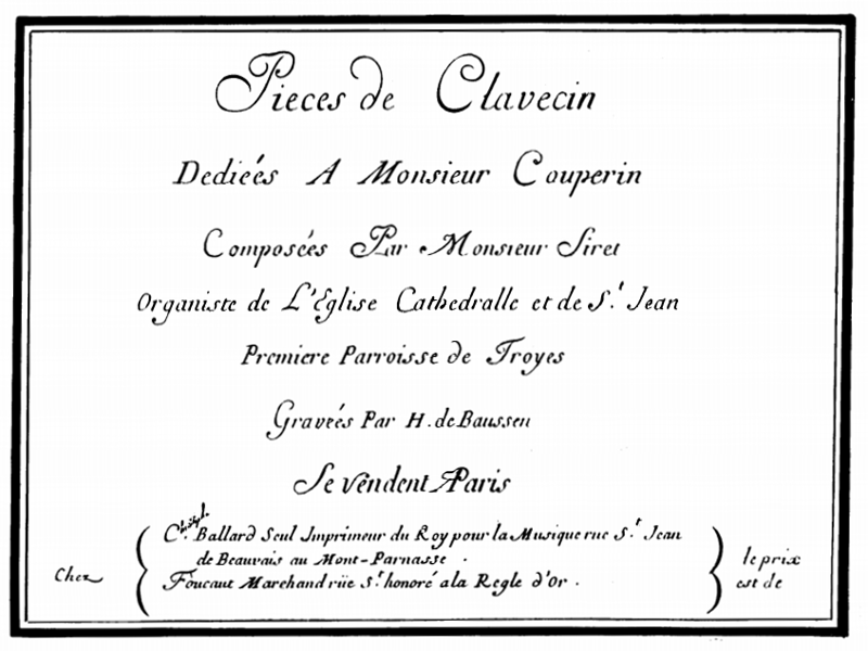 Pièces de clavecin di Siret, 1° libro