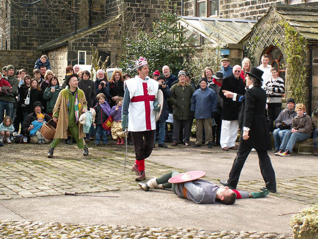 File:St George slays Bold Slasher - Heptonstall Pace Egg Play - geograph.org.uk - 818905.jpg