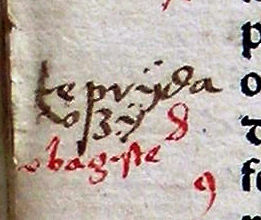 The earliest known Lithuanian glosses (between 1520 and 1530) written in the margins of Johannes Herolt book Liber Discipuli de eruditione Christifidelium. Words: teprydav[s]Zy (let it strike), vbagyste (indigence) The earliest known Lithuanian glosses (~1520-1530), words (tepridauzia, ubagyste).jpg