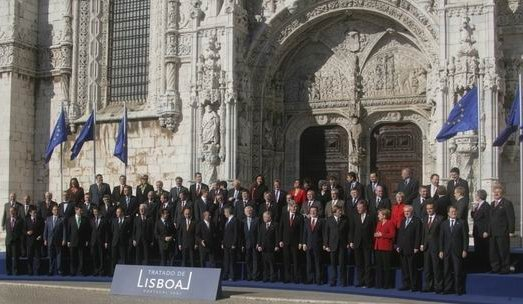 The Treaty of Lisbon, which forms the constitutional basis of the European Union, was signed at the Jeronimos Monastery in 2007. Tratado de Lisboa 13 12 2007 (08) edited.jpg