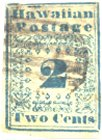 "150px Two Cent Hawaiian, 1851  blue ""Missionary"" Type I"