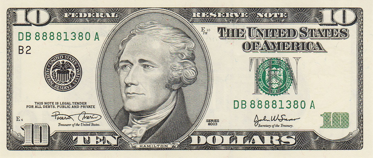 picture regarding Printable 20 Dollar Bill named Record:US $10 Sequence 2003 obverse.jpg - Wikimedia Commons
