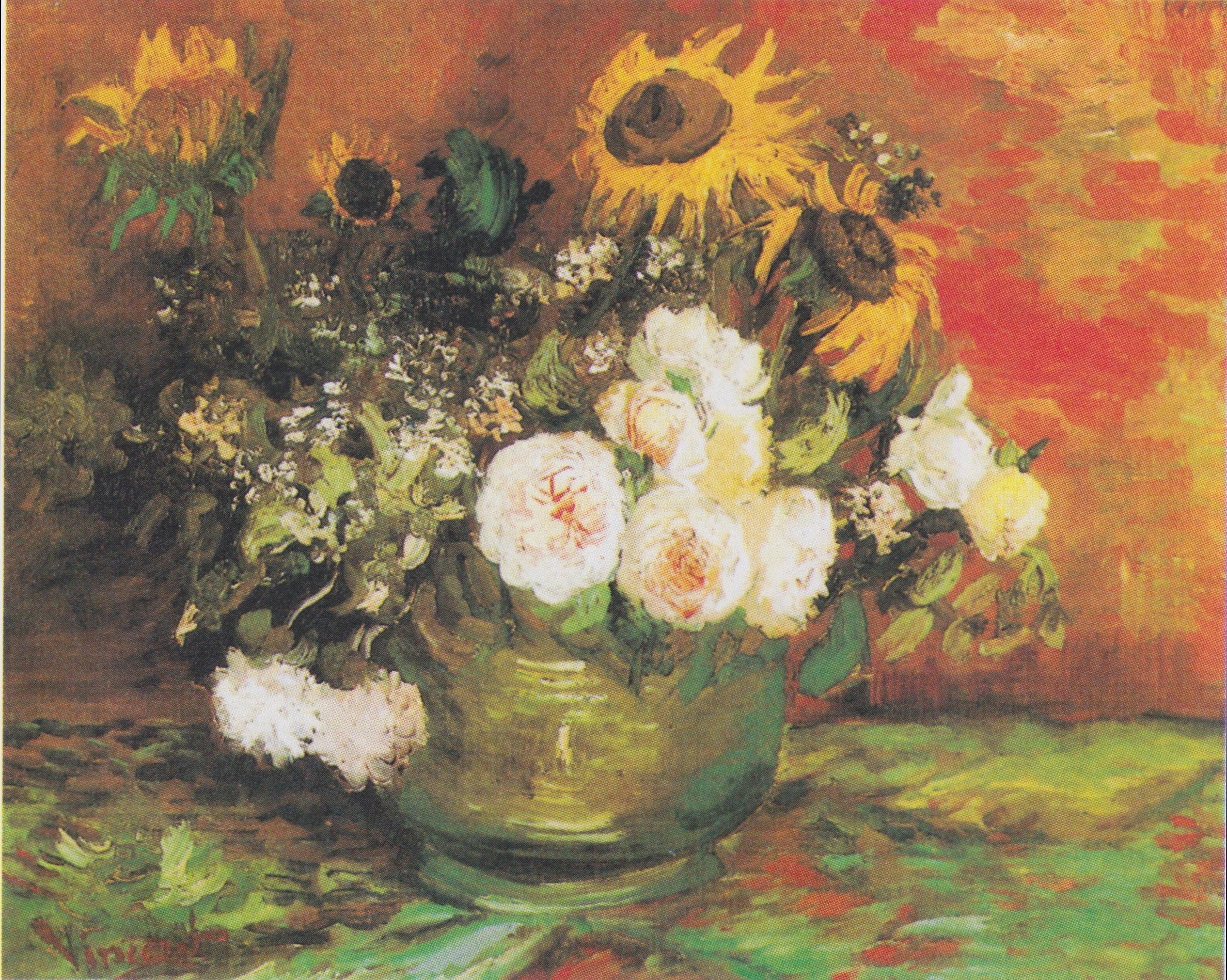 Dateivan Gogh Schale Mit Sonnenblumen Rosen Und Anderen Blumen