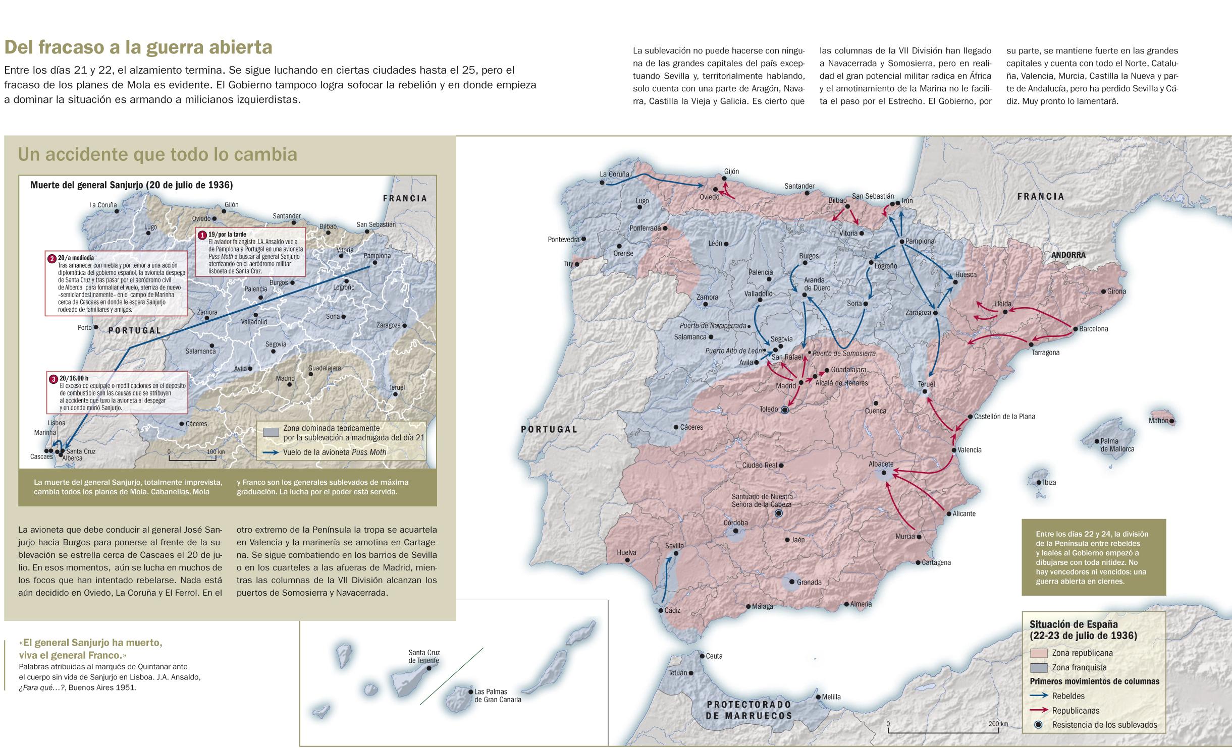 Situación el 23 de julio de 1936 tras el fracaso parcial del golpe de Estado. En azul las zonas controladas por los sublevados.[61]