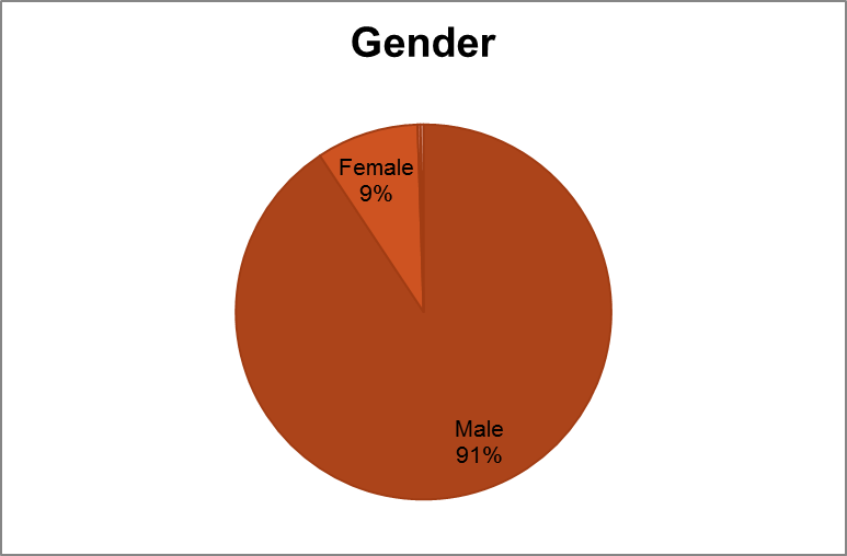 WP April 2011, Editor Survey, 91percent editors are male