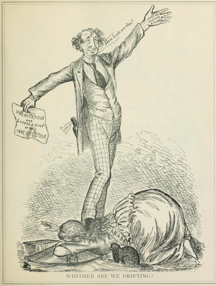 "Original title:    Description English: ""Whither are we drifting?"" Cartoonist Bengough satirizes Prime Minister John A. Macdonald's policy of delay in the wake of the Pacific Scandal. Date 16 August 1873(1873-08-16) Source Grip, August 16, 1873 Reproduced in A Caricature History of Canada, Volume I Author John Wilson Bengough, died 1923"