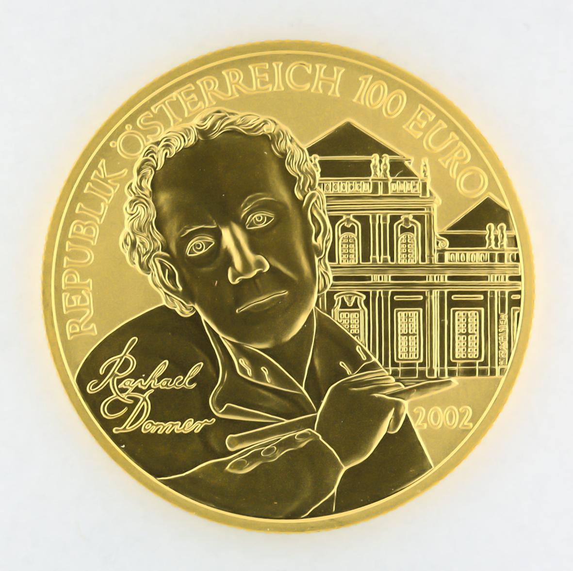 Fichierösterreich 100 Euro Goldmünze Bildhauerei 2002 Avers