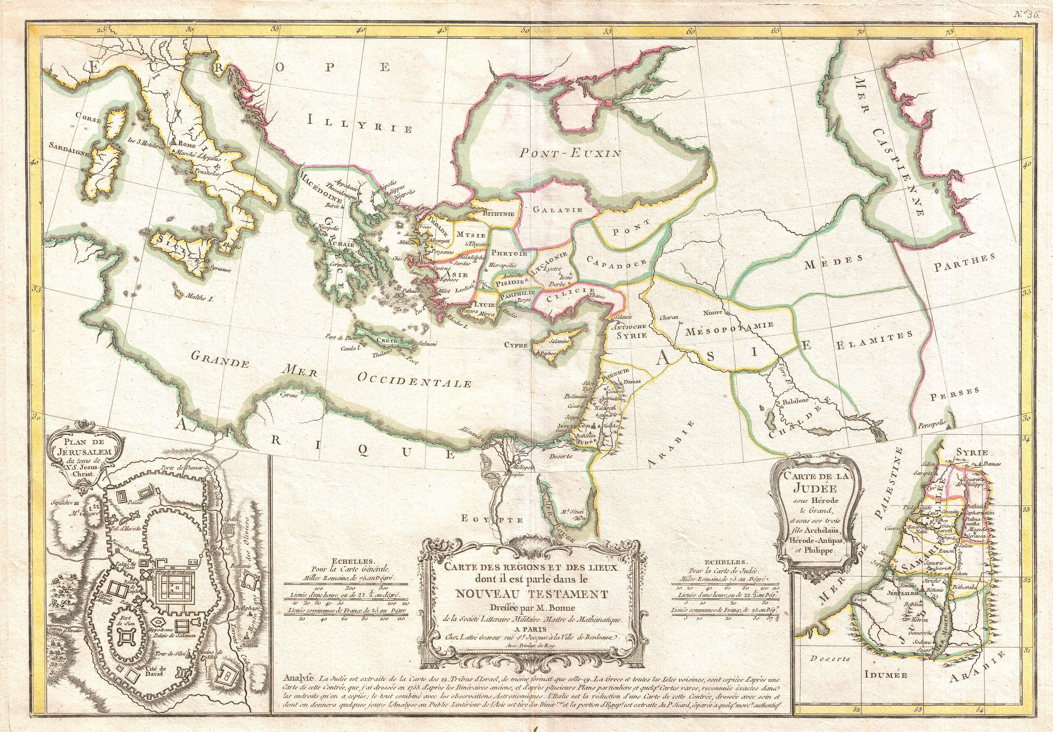 File1771 Bonne Map of the New Testament Lands w Holy Land and