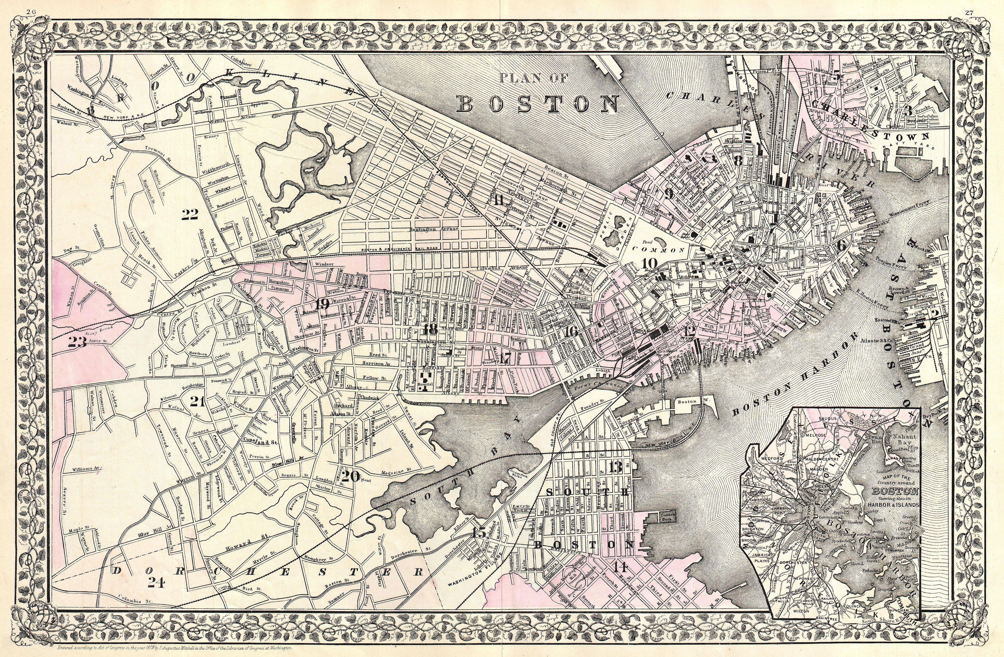 Picture of: File 1879 Mitchell Map Of Boston Massachusetts Geographicus Boston Mitchell 1879 Jpg Wikimedia Commons