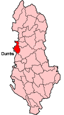 Map showing Durrës within Albania