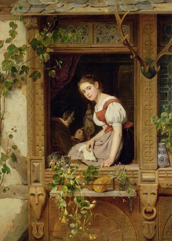 August Friedrich Siegert - Träumen auf der Fensterbank.jpg