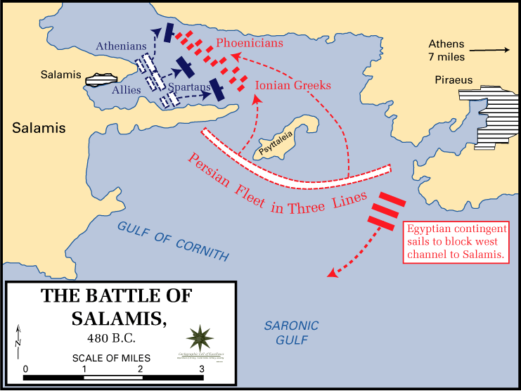 Image result for Battle of Salamis, 480 BCE