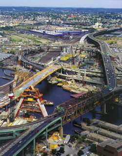 "Part of the ""Big Dig"" construction project; this portion is over the Charles River in Boston. Boston CAT Project-construction view from air.jpeg"