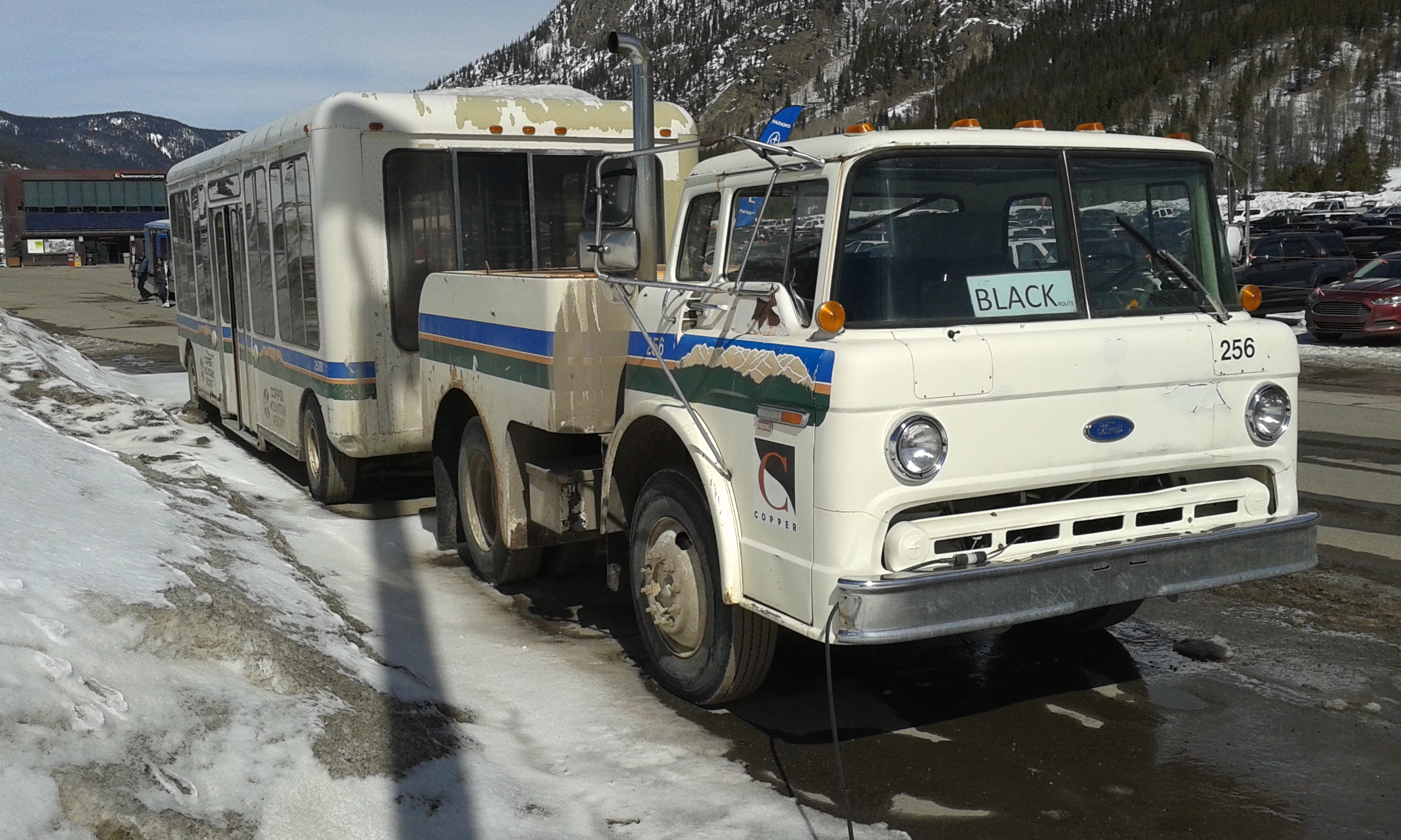 Mtn View Ford >> File:Cab over truck 256 and wagon, Copper Mtn.jpg - Wikimedia Commons