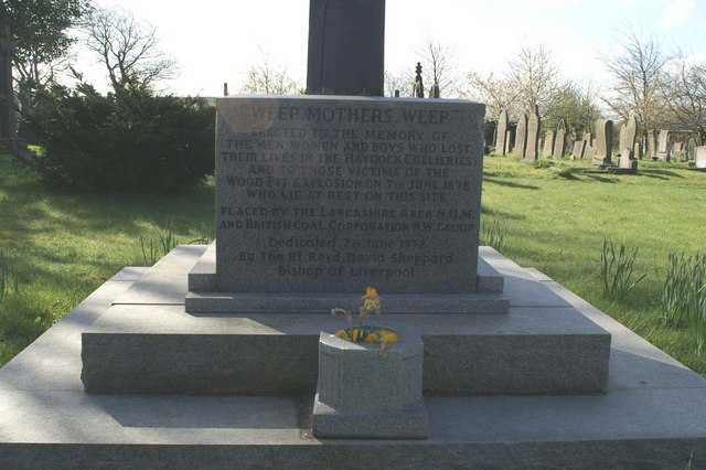 Stone memorial for miners killed in the Haydock pits