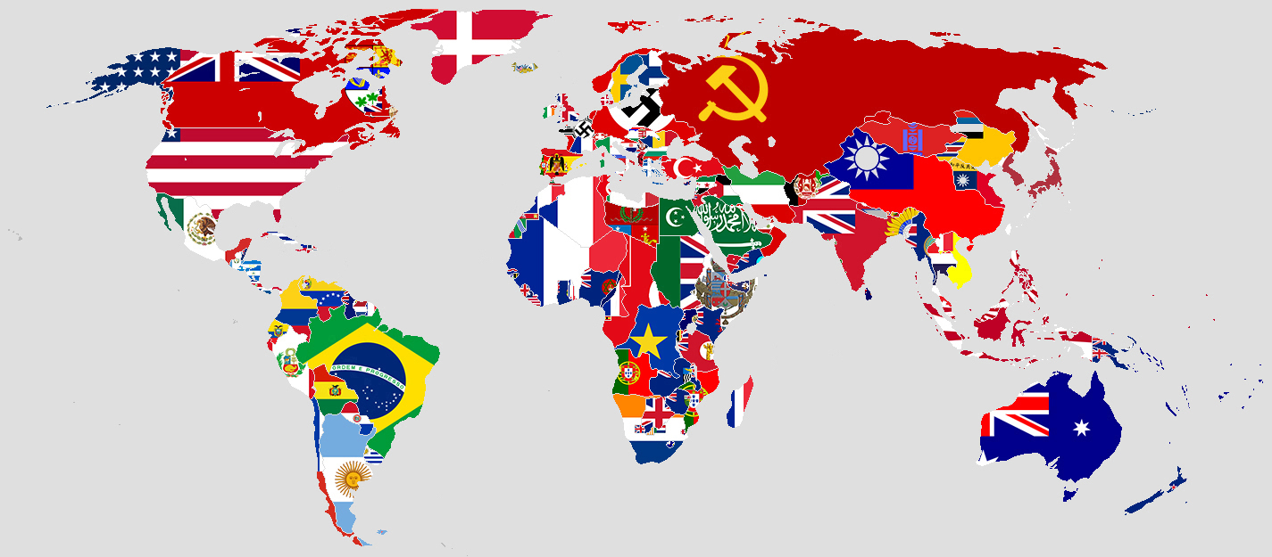 Image of the flags of the world on their country