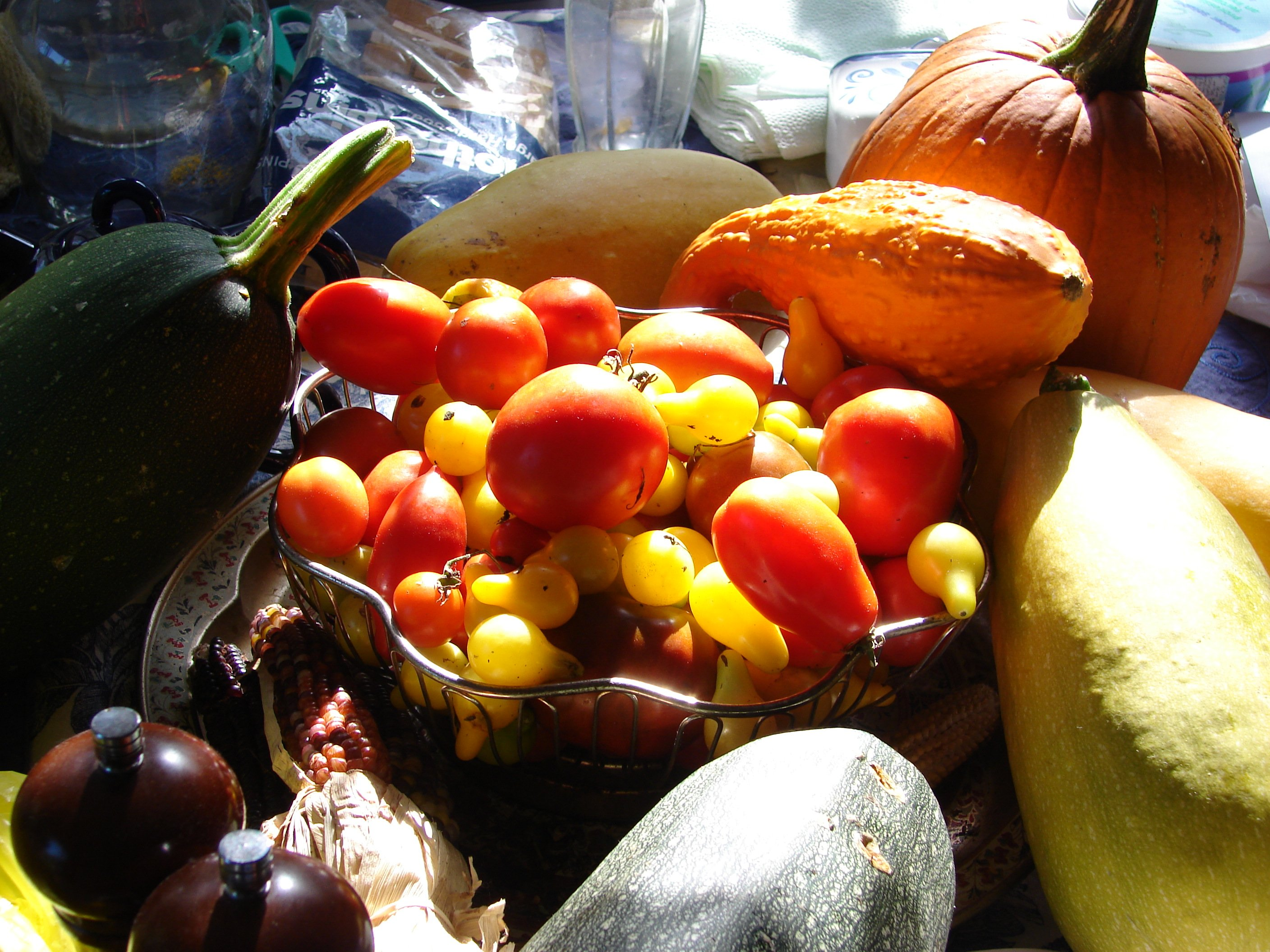 An arrangement of fruits commonly thought of as vegetables, including tomatoes and various squash