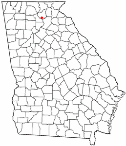 Location of Auraria, Georgia