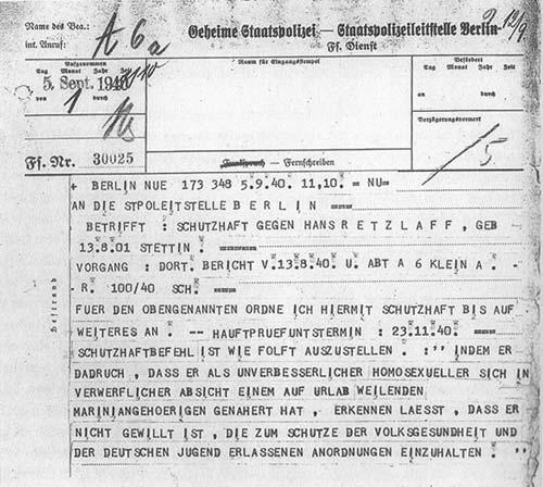 """Un telex della Gestapo sull'ordine per la carcerazione preventiva di un """"incorreggibile omosessuale""""."""