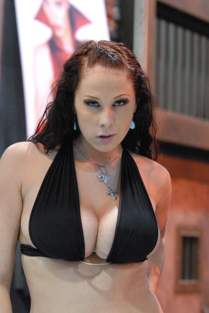 Big boobed redhead Gianna Michaels licks the ball sac of a BBC while giving BJ  89880