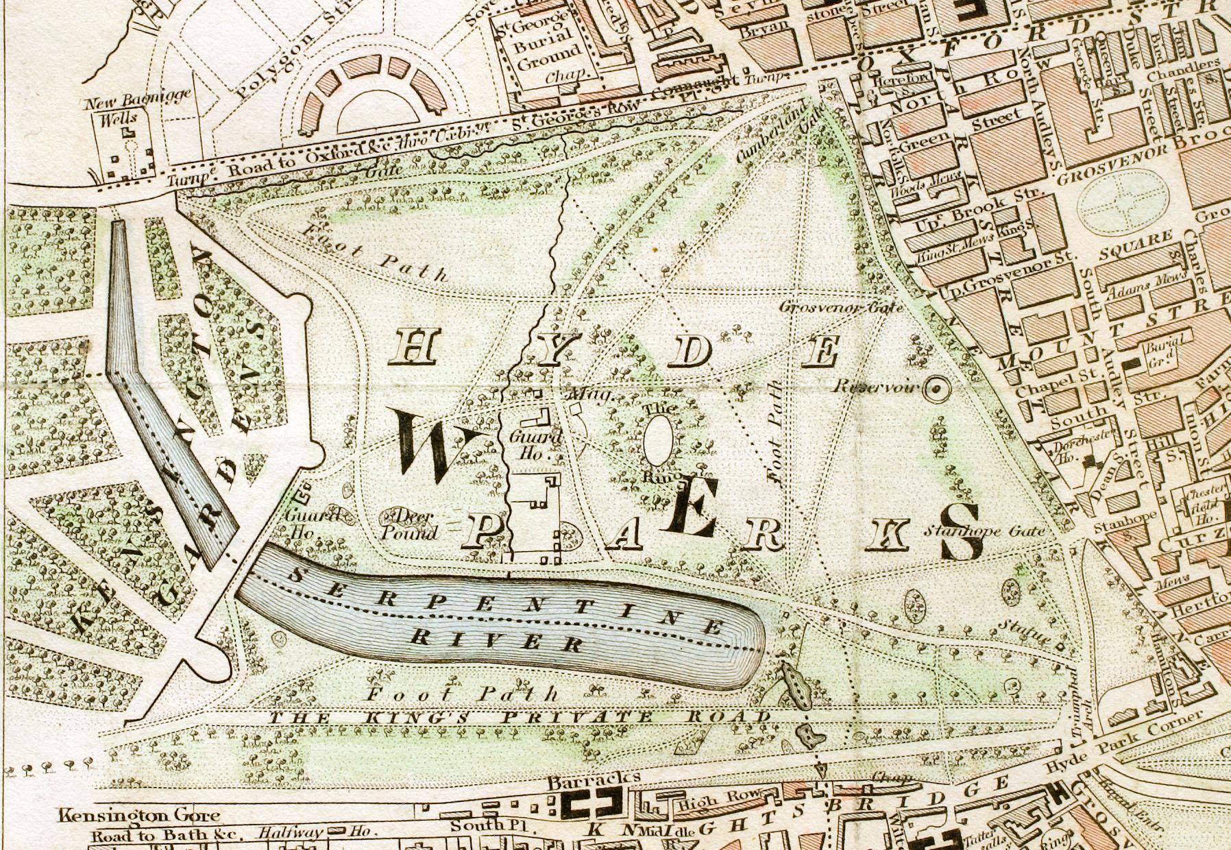 Carte de Hyde Park à Londres en 1833.