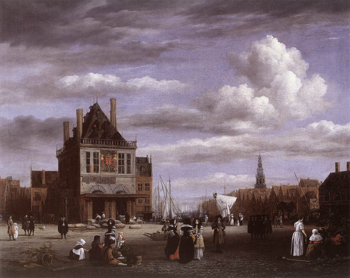 The Dam Square in Amsterdam with the Weigh House