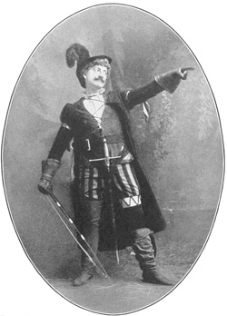 John Drew, a famous American actor, playing the part of Petruchio from The Taming of the Shrew.