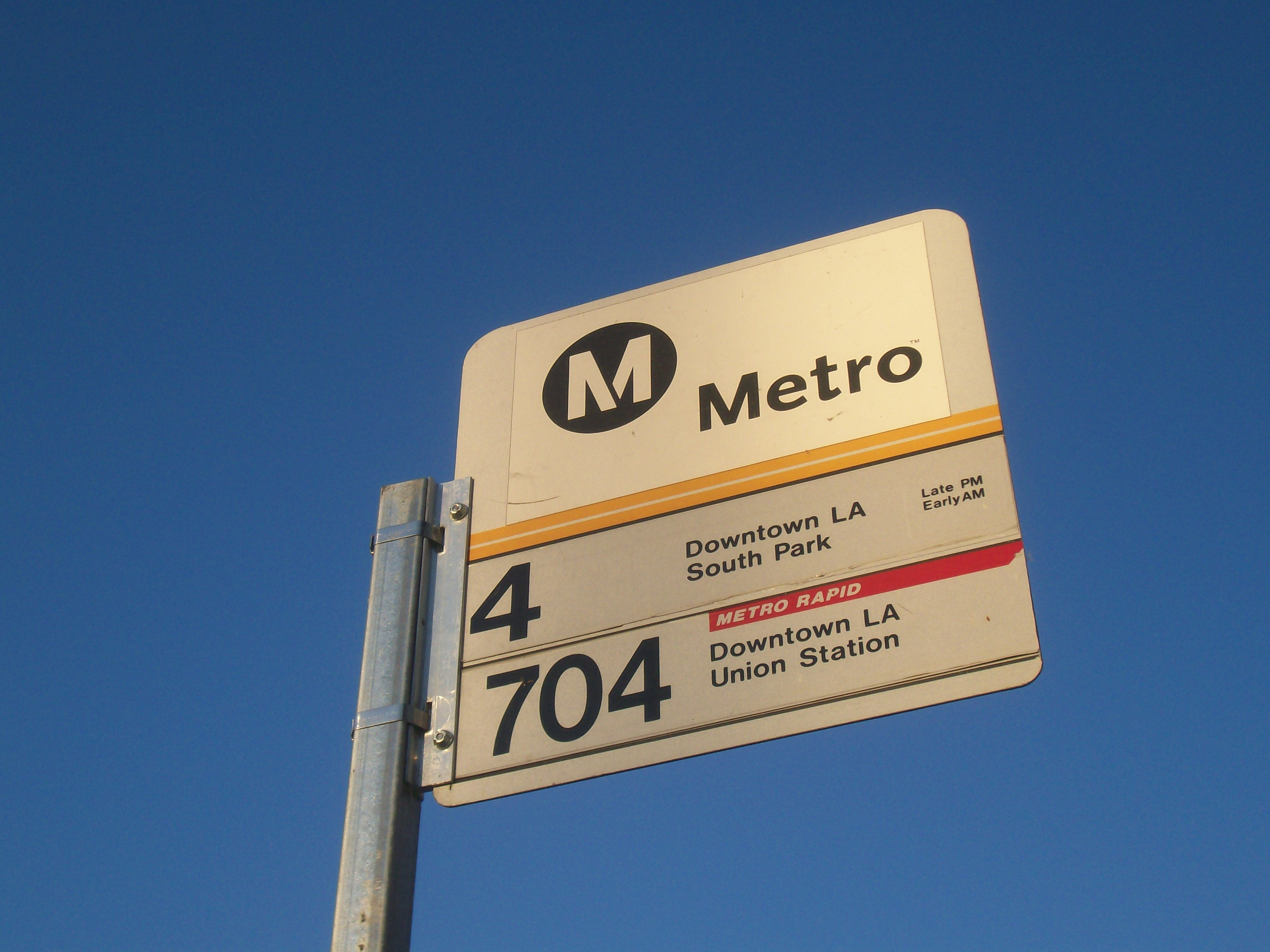 Metro bus stop sign for Local line