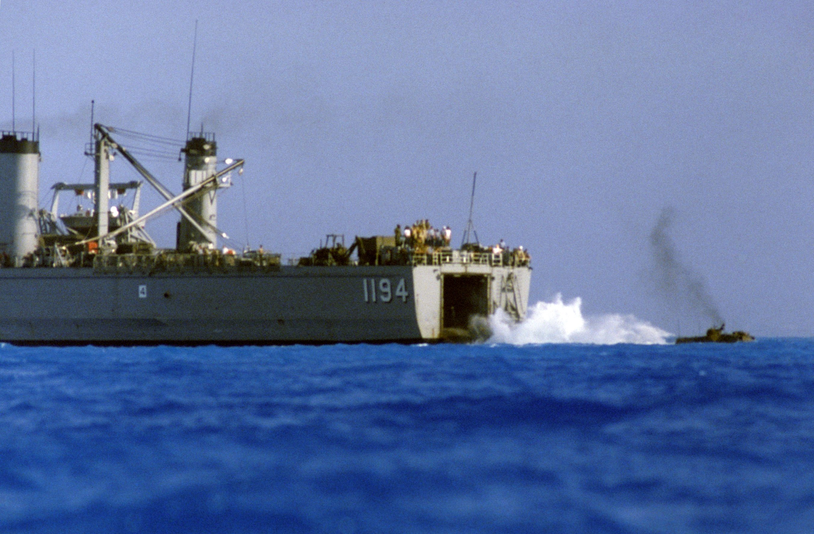 File:LVTP-7 after launch from USS La Moure County (LST-1194