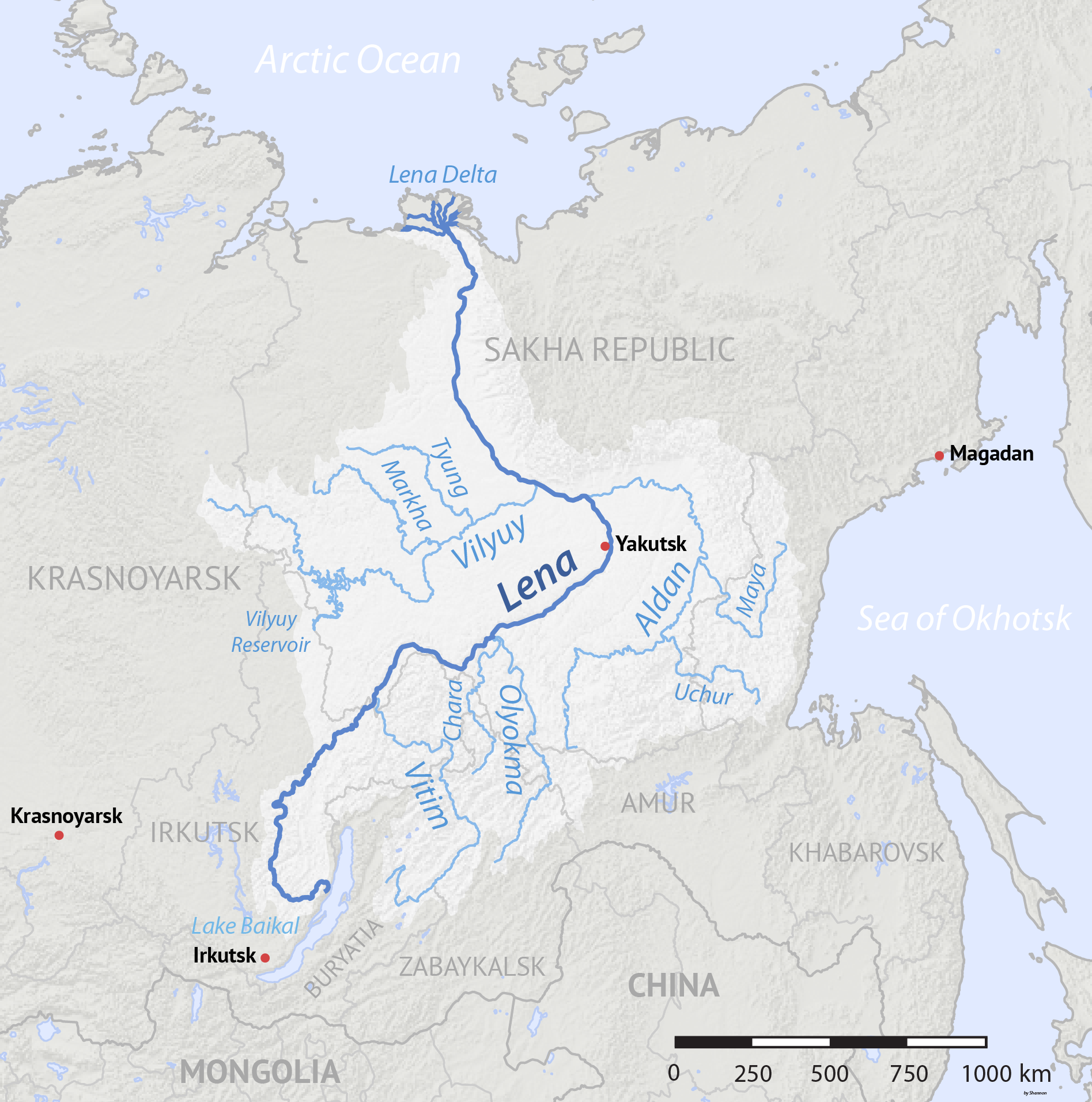 Lena River Wikipedia - Ob river on world map