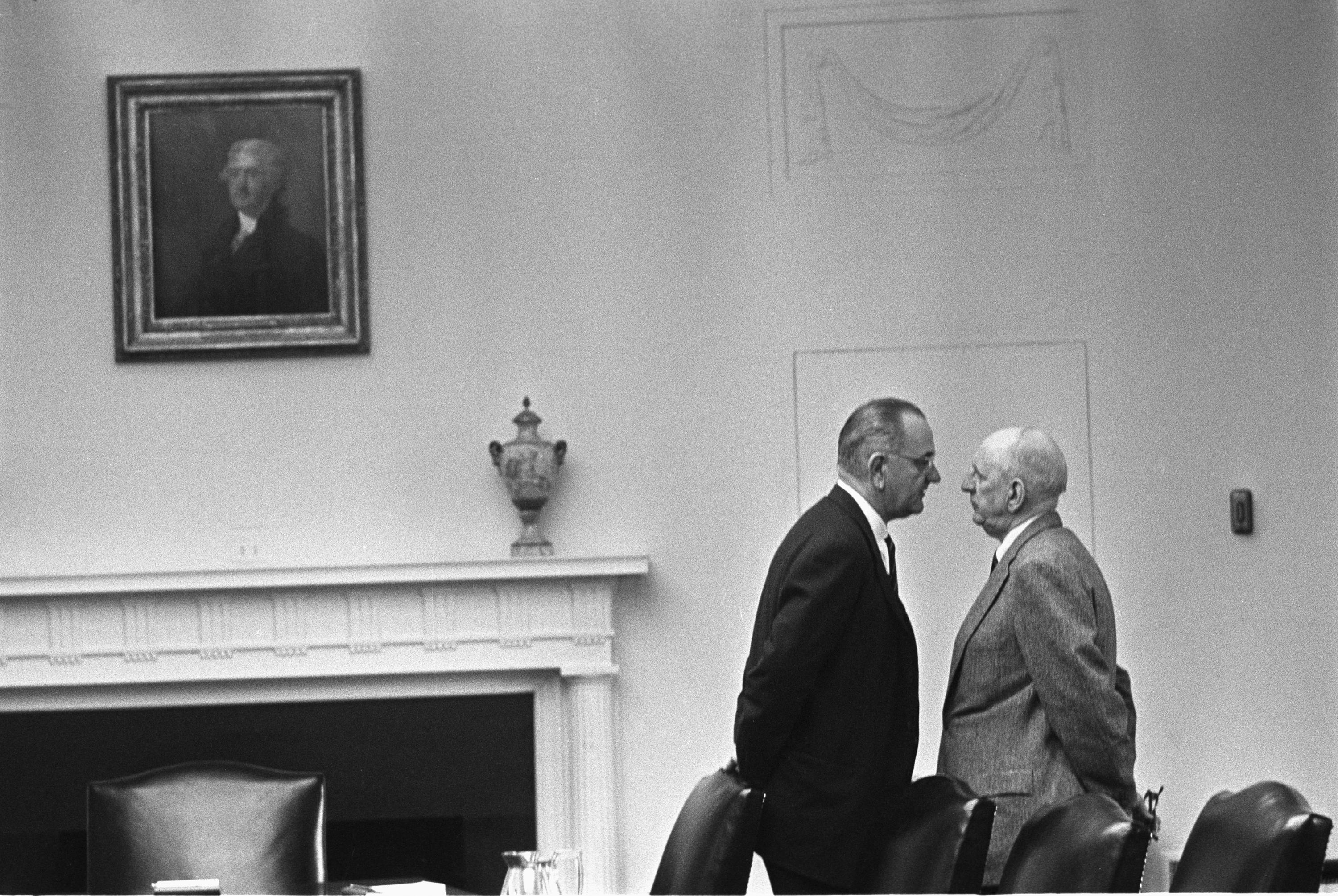 Lyndon Johnson gives Senator Richard Russell the