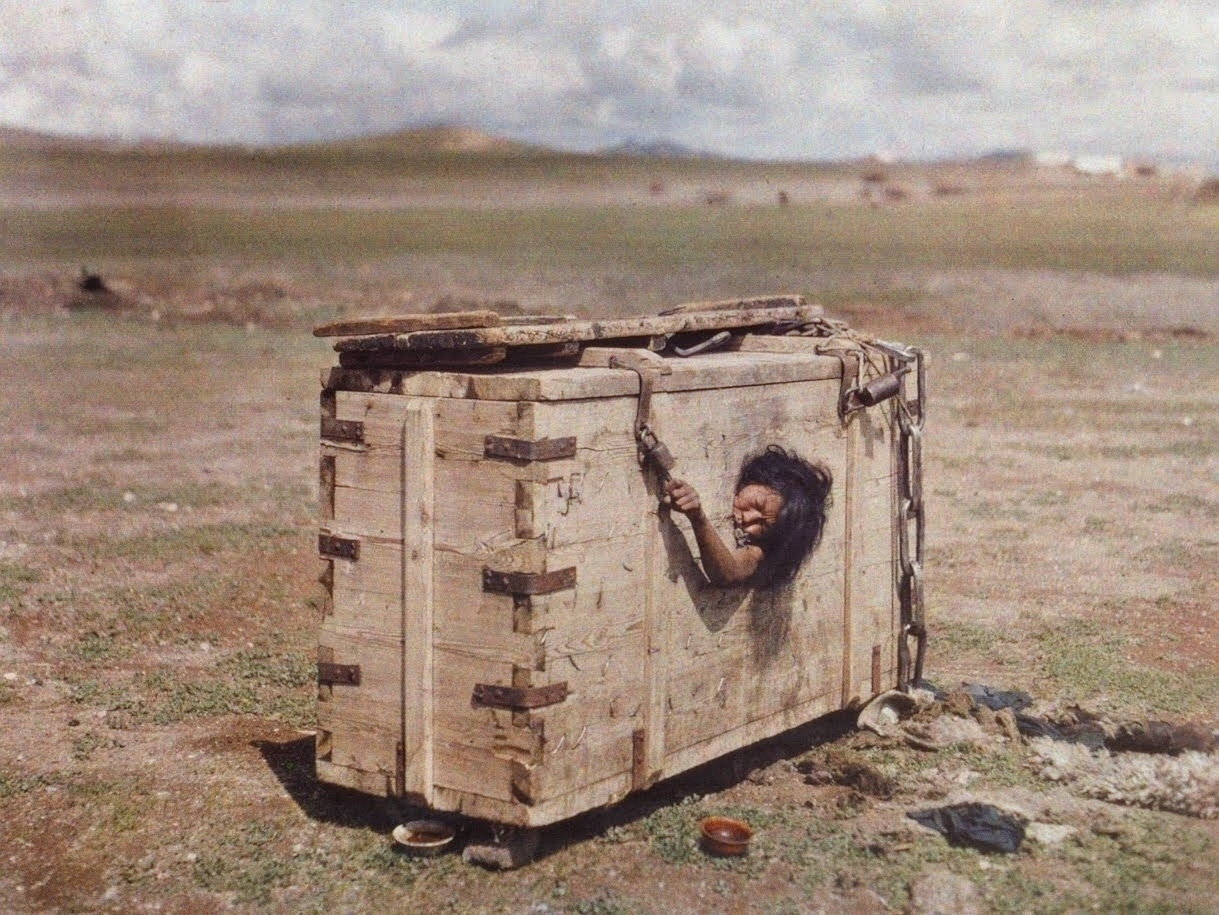 A Mongolian woman condemned to die of starvation, c. 1913