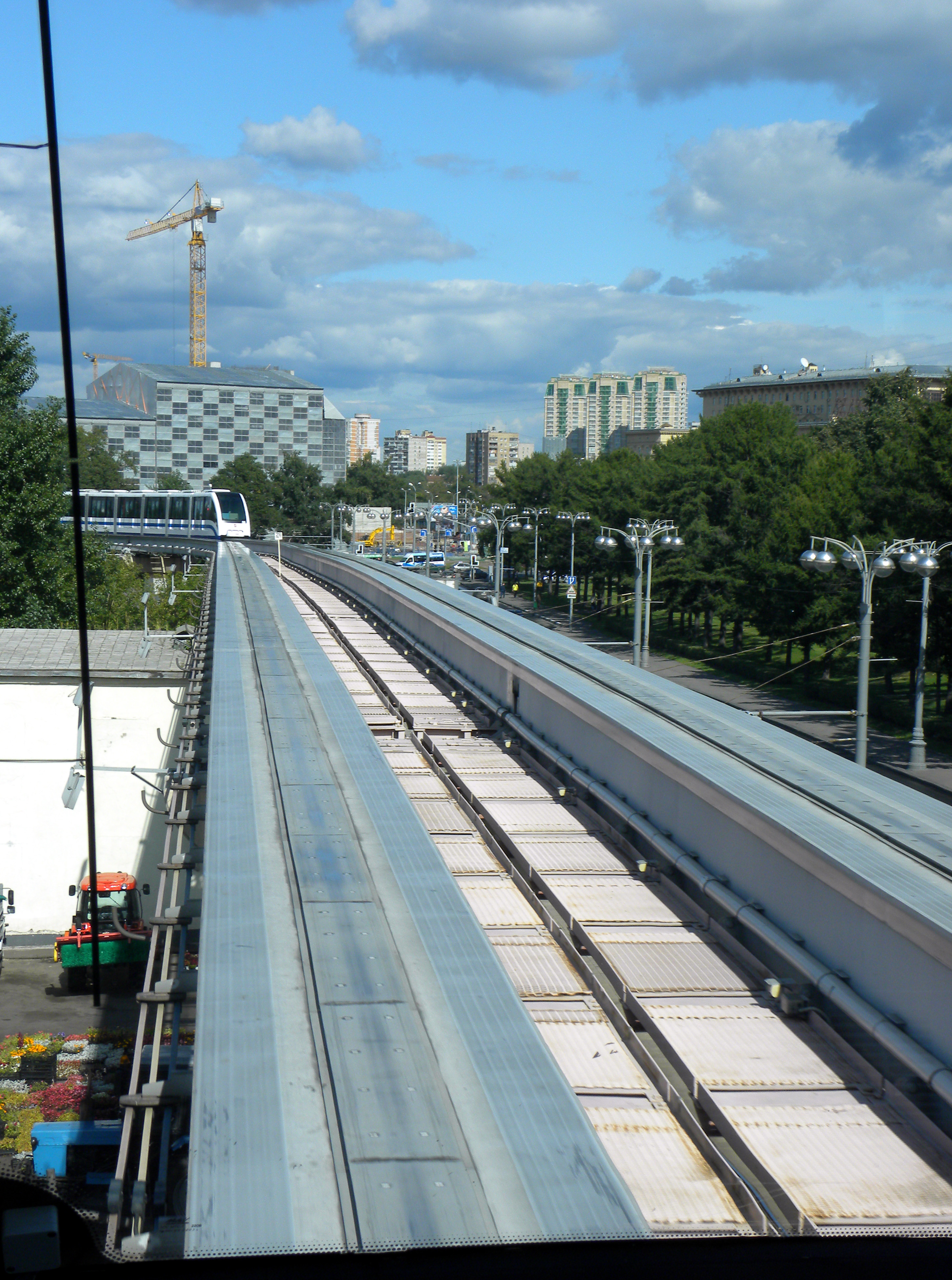 Description monorail moscow view from rear window