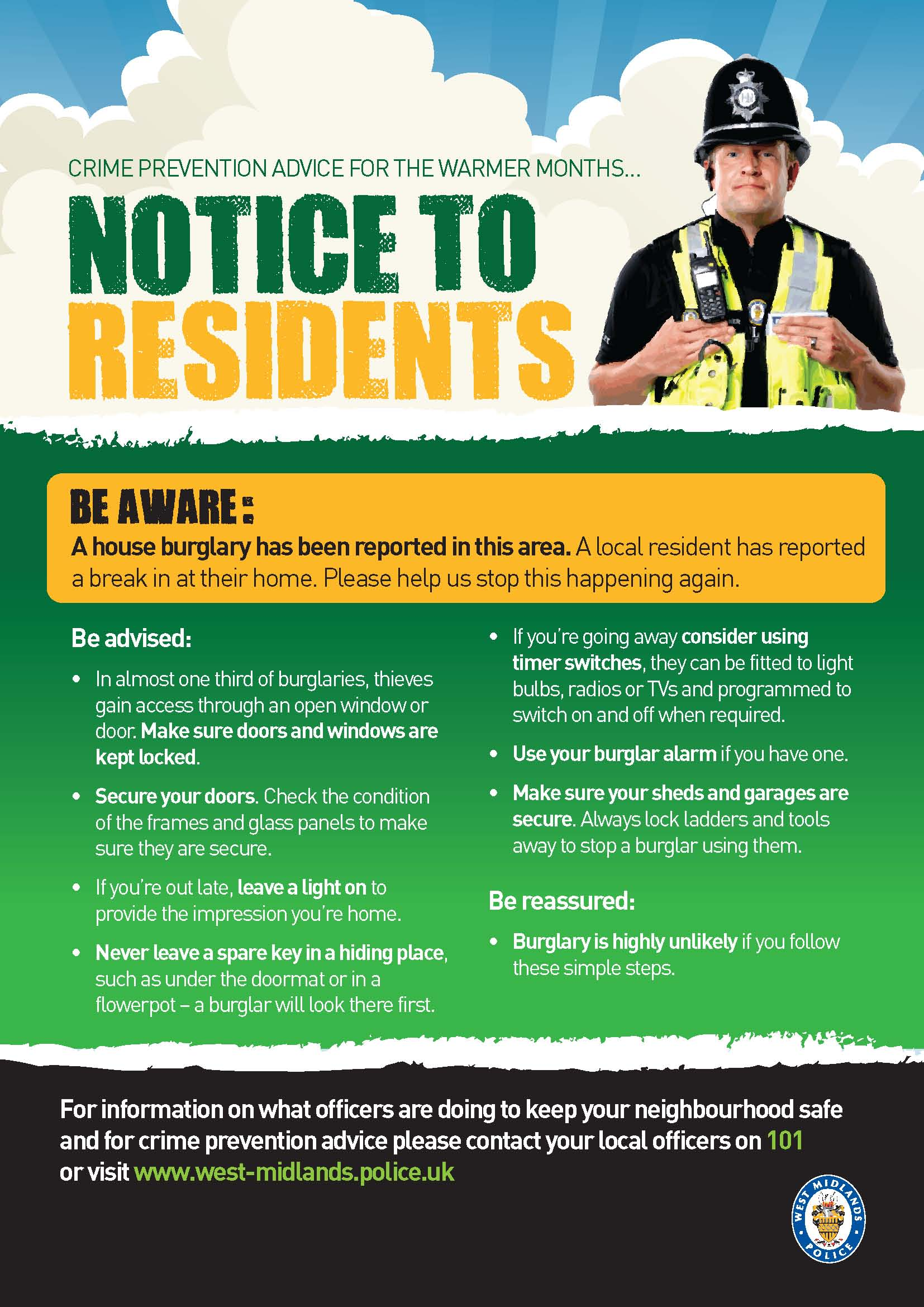 Description Notice to residents - burglary in the area (8615692035 ...