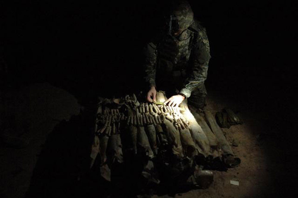 U.S. soldiers find a weapons cache March 31, 2007
