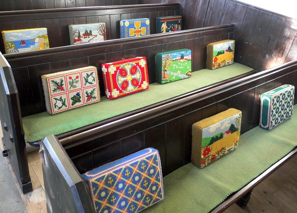 Church pews with cushion
