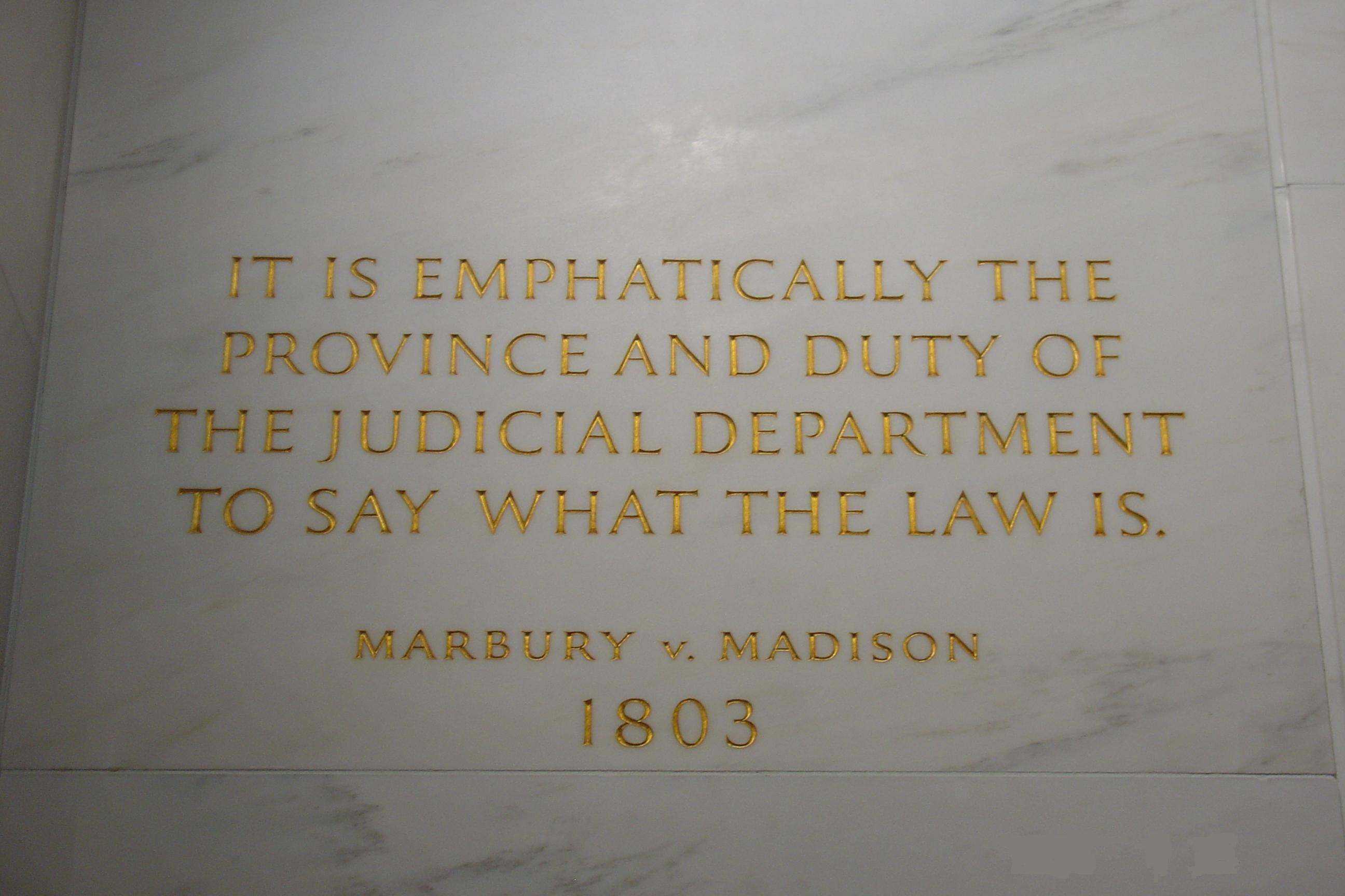 a review of the case of marbury versus madison Marbury v madison is considered by many to be not just a landmark case for the supreme court, but rather the landmark case the court's decision was delivered in 1803 and continues to be invoked when cases involve the question of judicial review.